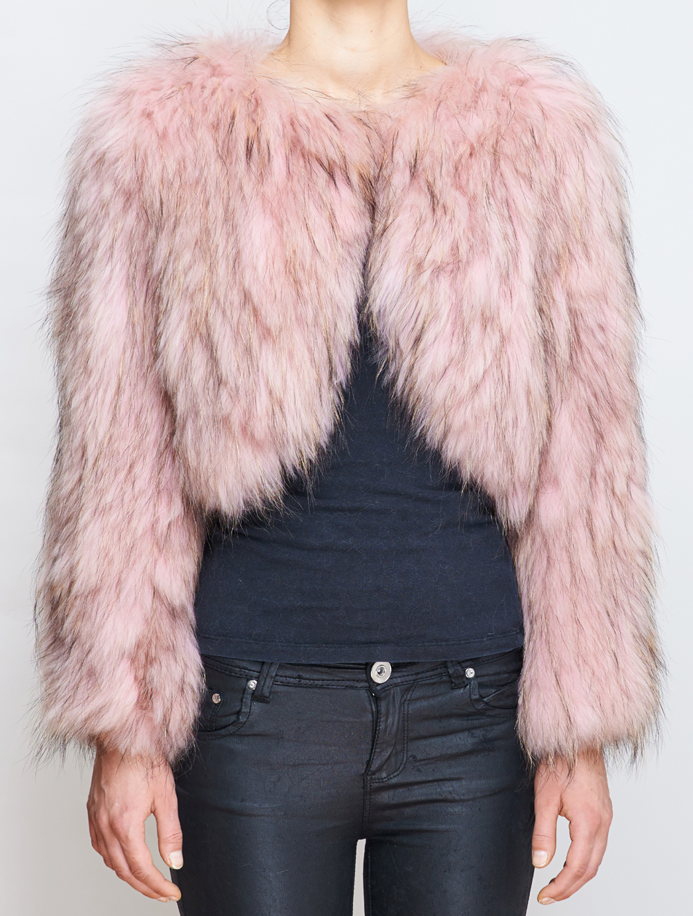 Blush Fox Fur Cropped Blazer