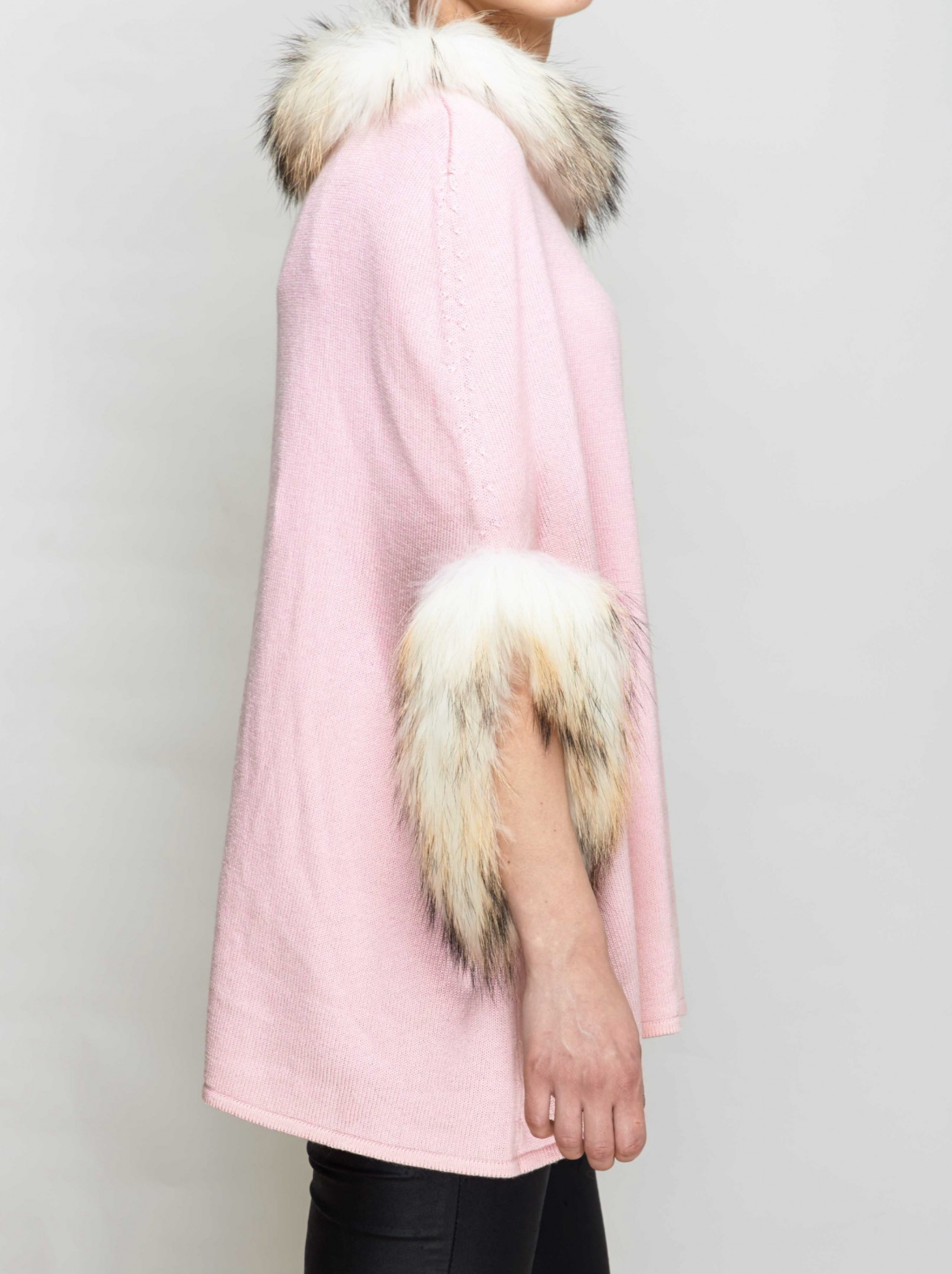 Blush Fur Trimmed Poncho