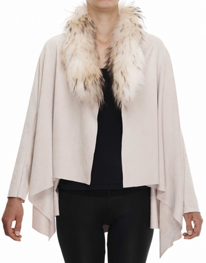 Cream Suedette Waterfall Jacket