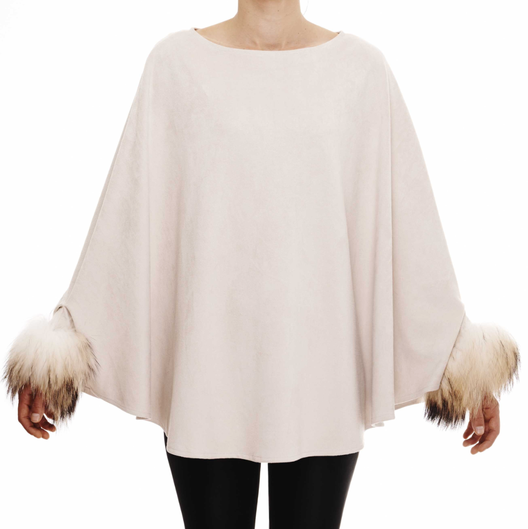 Cream Suedette Crew Neck With Fur Trim