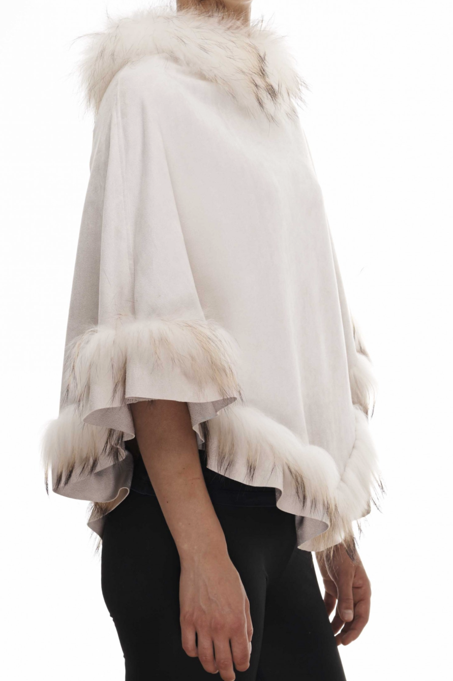 Cream Suedette Fur Trimmed Poncho