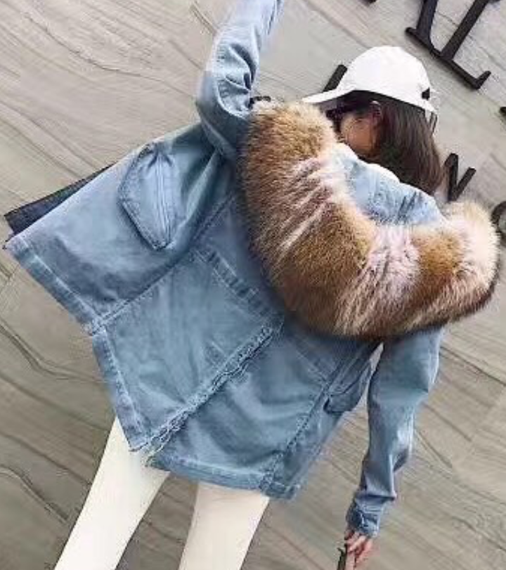Denim Parka With White Fox Lining