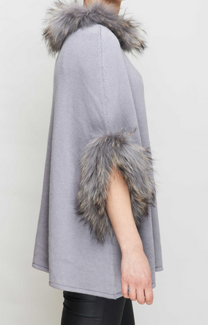 Dove Grey Fur Trimmed Poncho