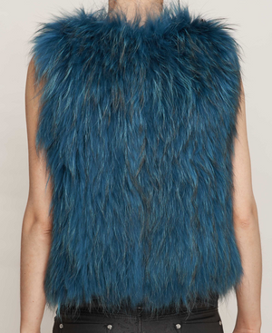 Turquoise Knitted Fox Fur Gilet