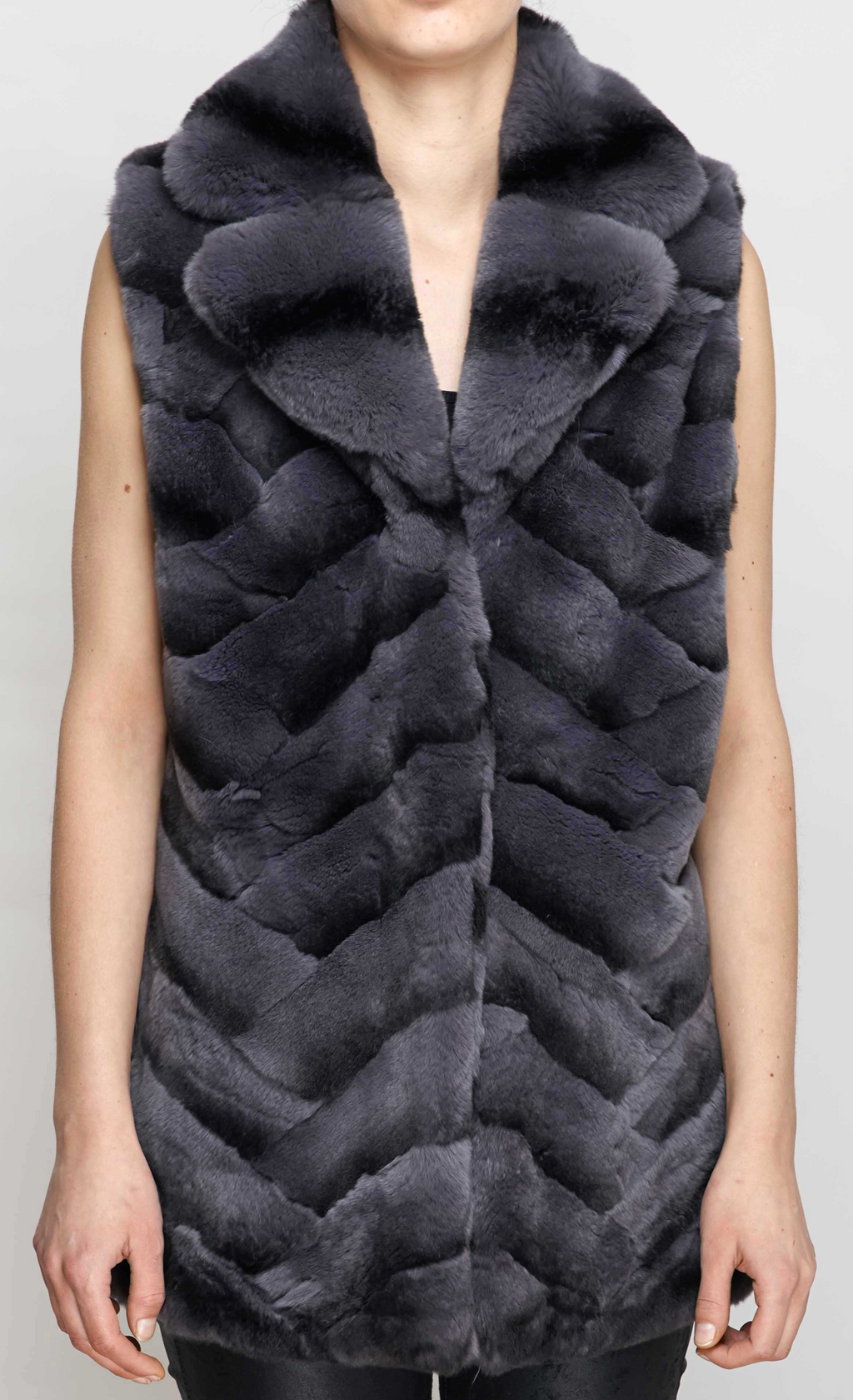 Grey Rex Rabbit Fur Gilet
