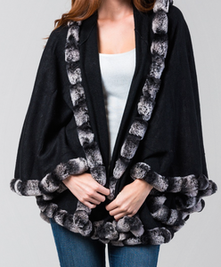 Rex Rabbit Fur Trimmed Cape