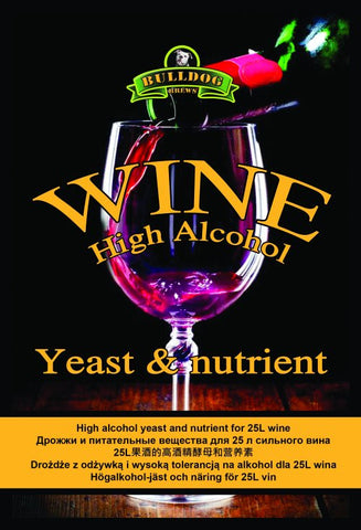 Bulldog Wine High Alcohol Yeast and Nutrient 28 grms