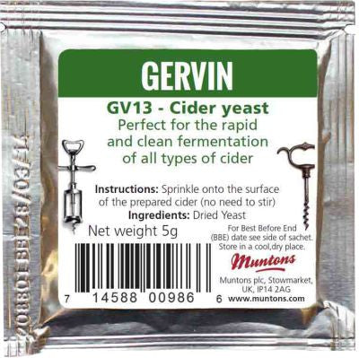 Gervin Wine Yeast GV13 - Cider Dark Green  Label