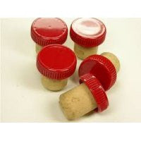 Plastic Red Top Stopper Corks 30s