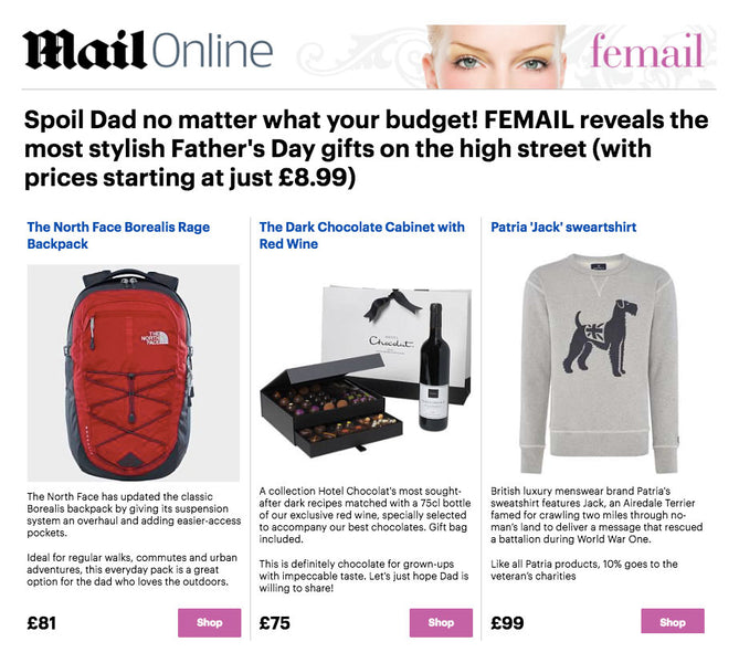 Fathers Day Gifts - from Patria - On the Daily Mail (Femail)