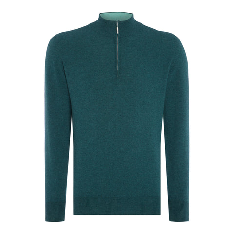 Cashmere Zip Neck Sweater in Drago