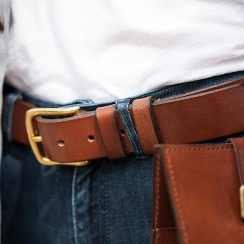Brown Oak Bark Leather Belt