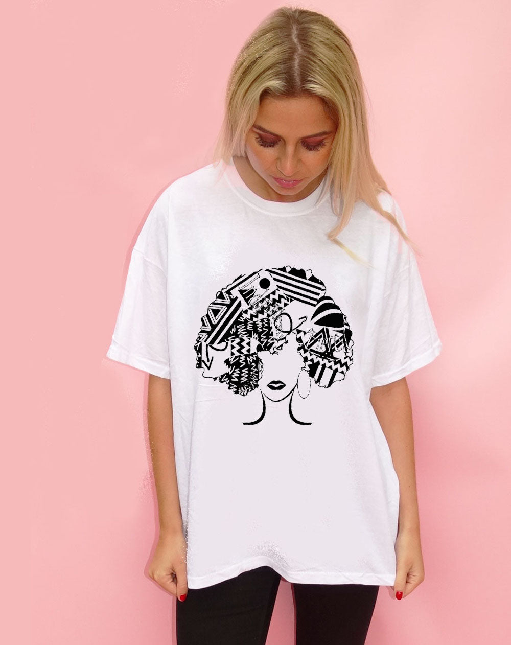 Graphic Fro T-shirt in White