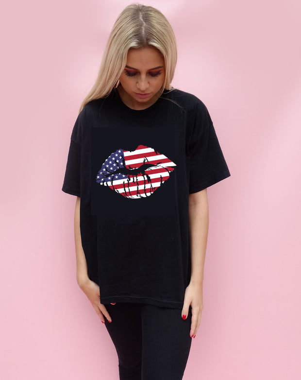 American Kiss Tshirt in Black
