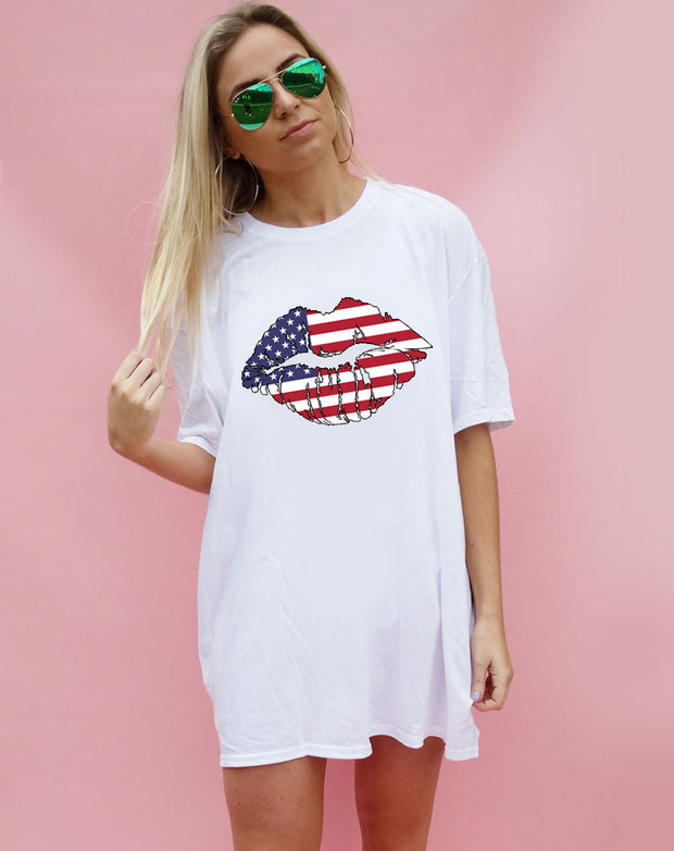 American Kiss Tshirt in White