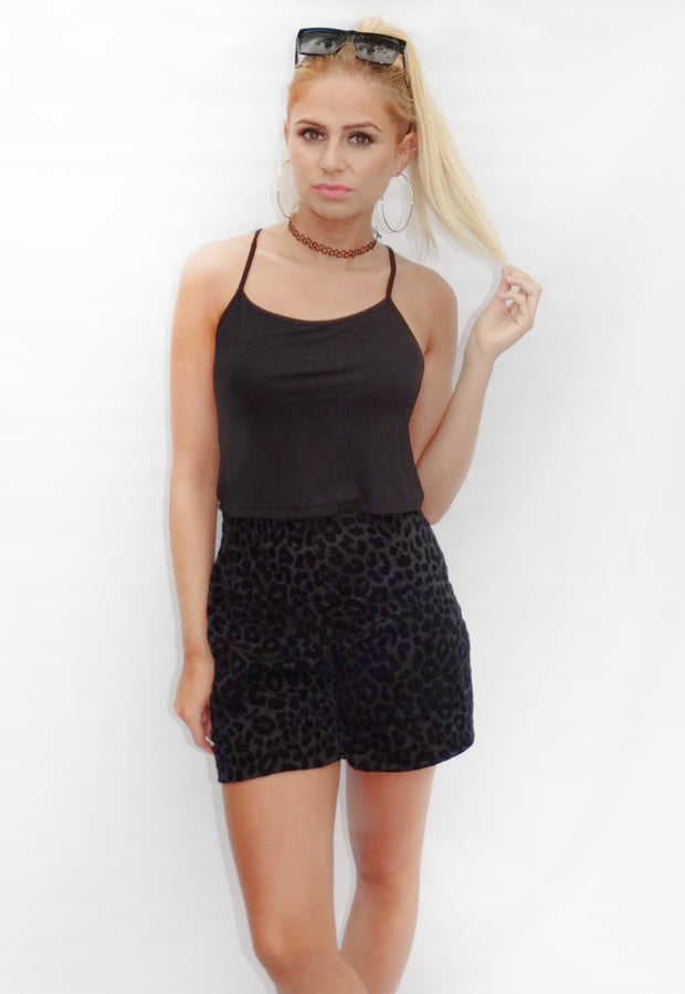 Black Leopard Casual Shorts