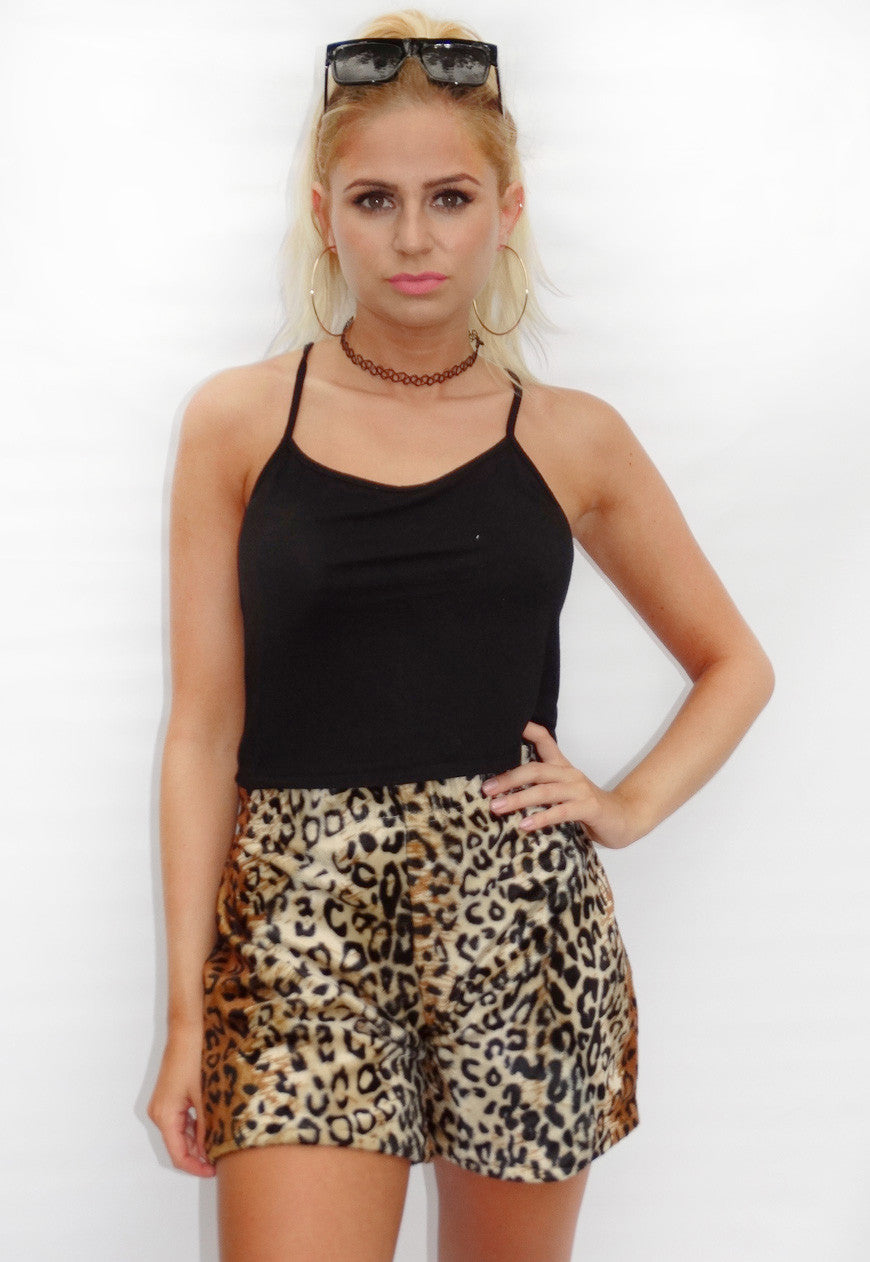 Faux Fur Leopard Casual Shorts