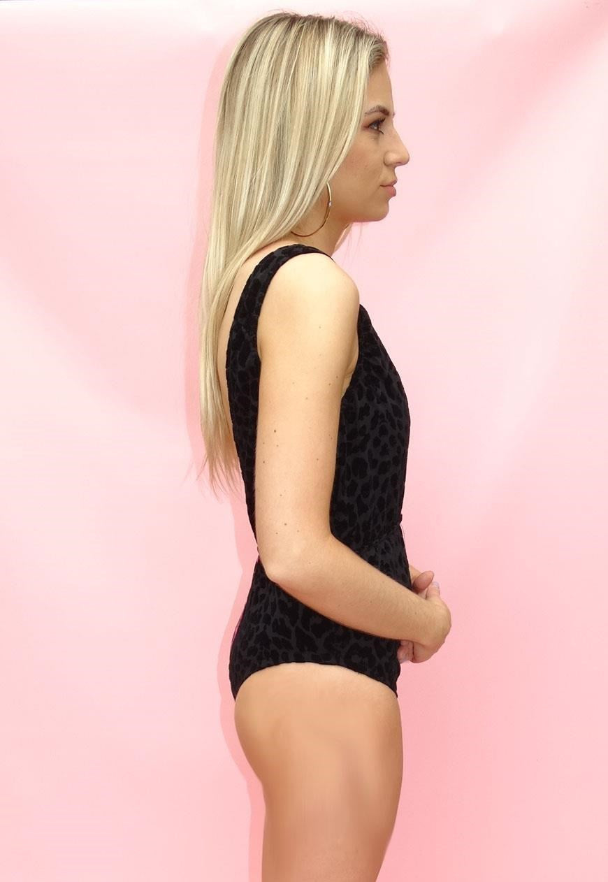 Hot Pink & Black Velour Animal Print Bodysuit