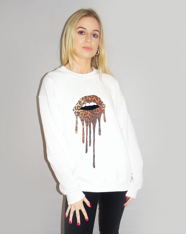 Jumper In White Leopard Lip Drip