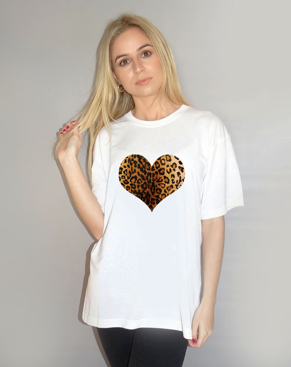 Leopard Heart Tshirt in White