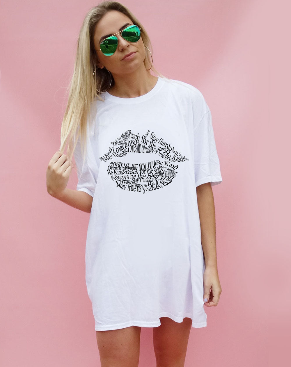 White Tshirt Dress with Positive Slogan Lip Print