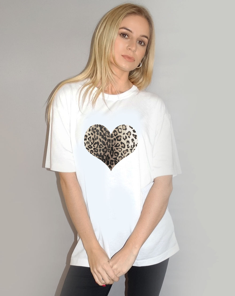 Monochrome Leopard Heart Tshirt in White