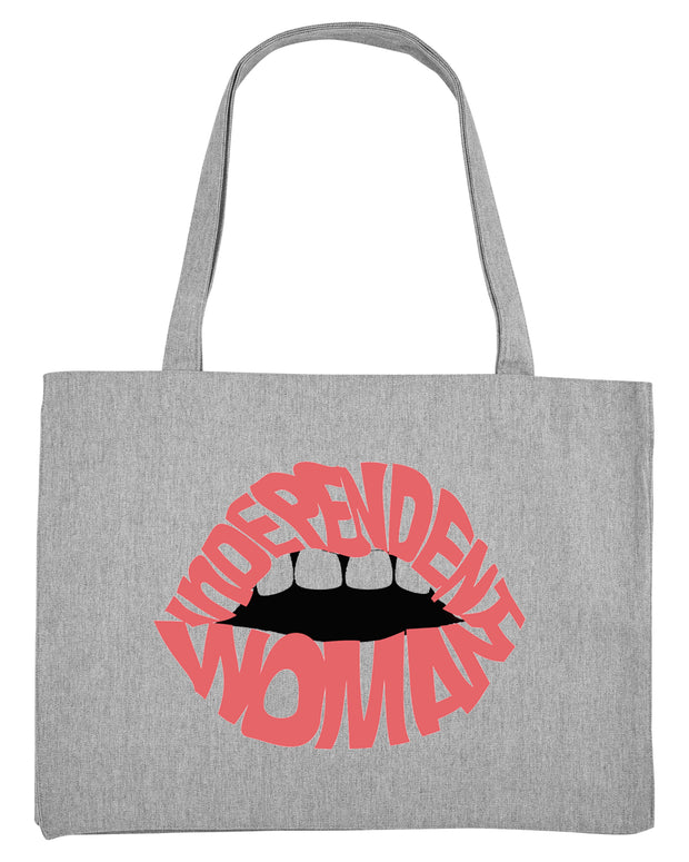 Pink Independent woman lip tote bag in grey