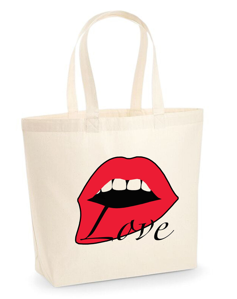 Red Love Lip woven tote bag in cream