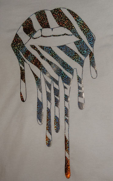 Holographic Zebra Drip Lip T-shirt In White
