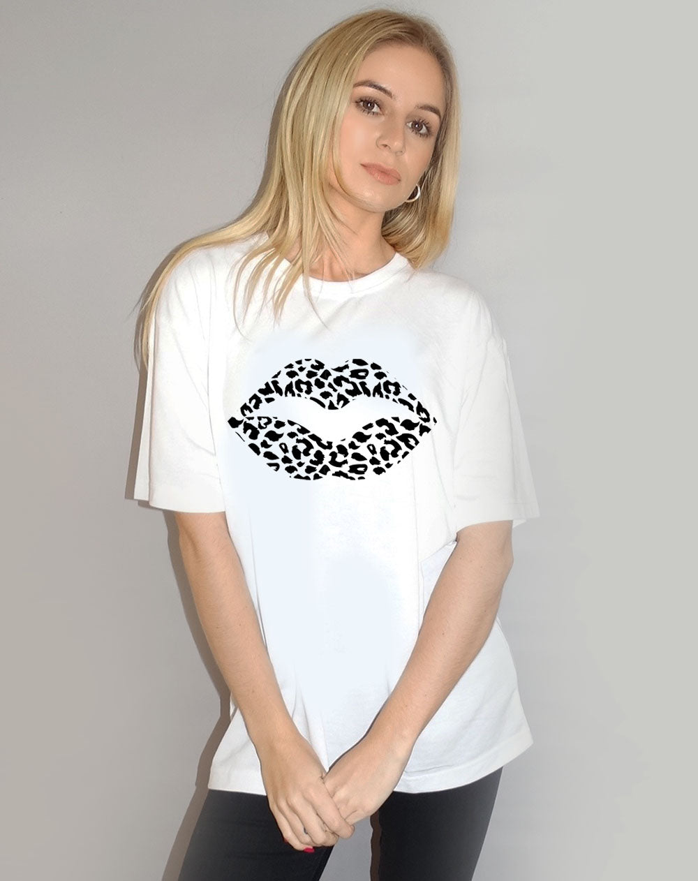 White Tshirt with Black & White Leopard Lip Print