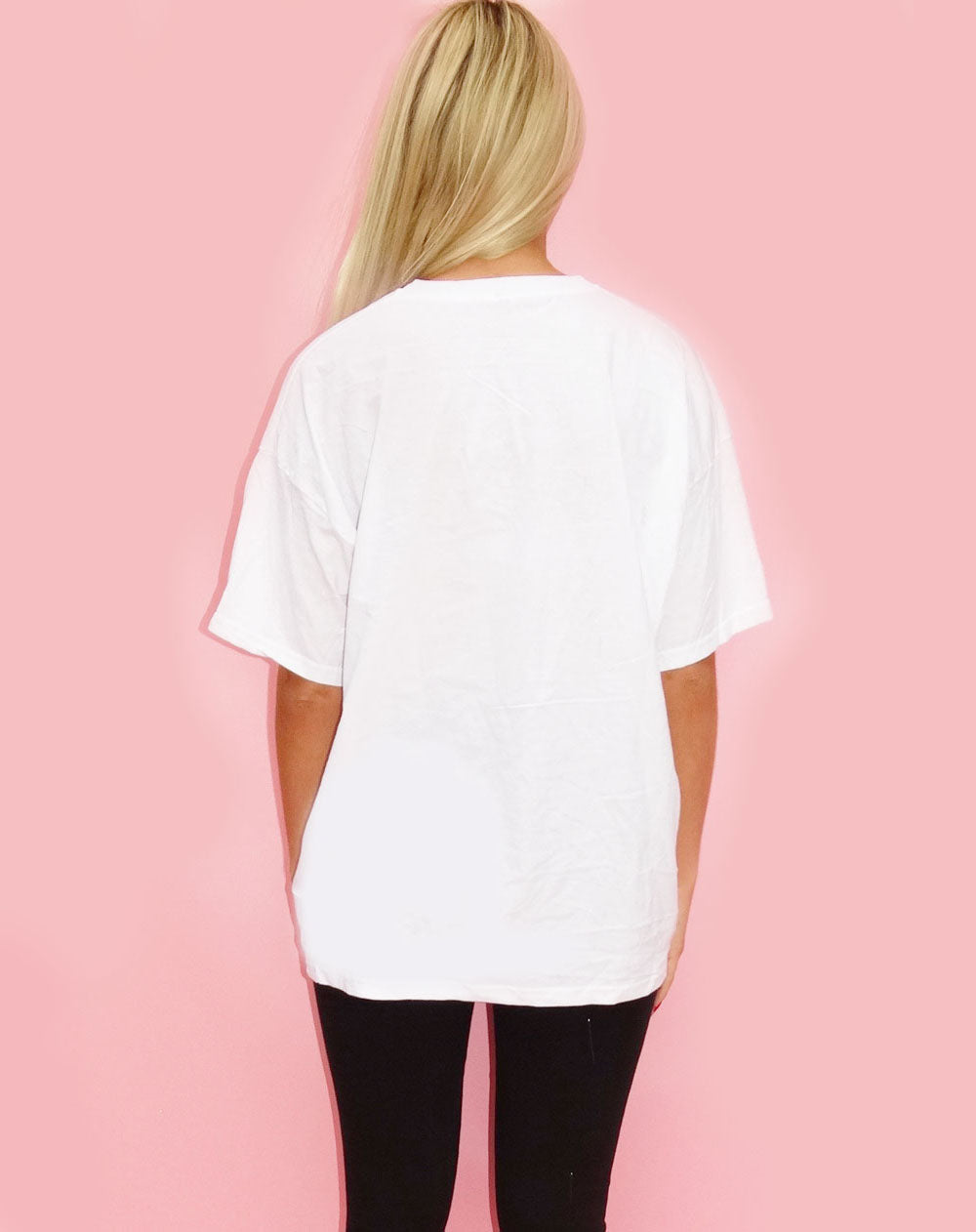 White Tshirt with Leopard Heart in Monochrome