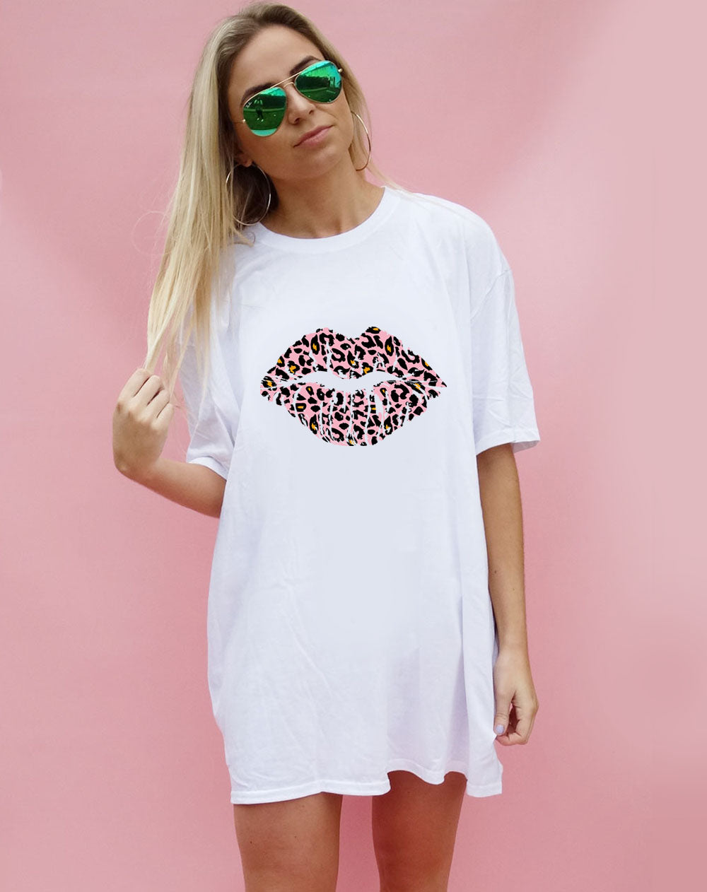 White Tshirt with Pink & Orange Leopard Kiss