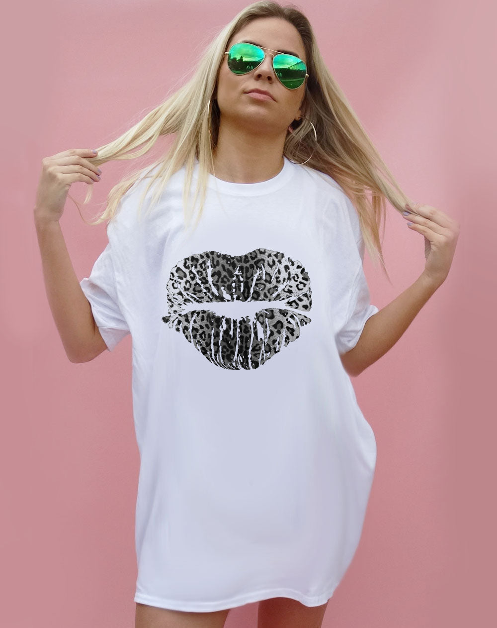 Monochrome Leopard Lip Kiss Oversize Tshirt Dress