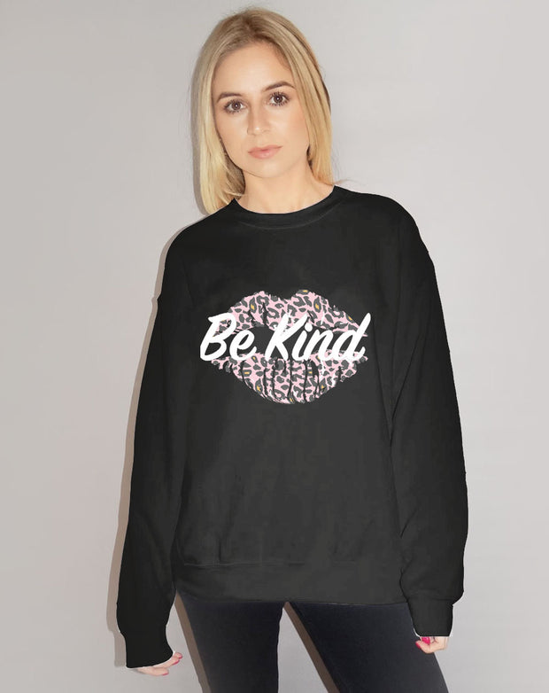 Be Kind Leopard Kiss Black Jumper