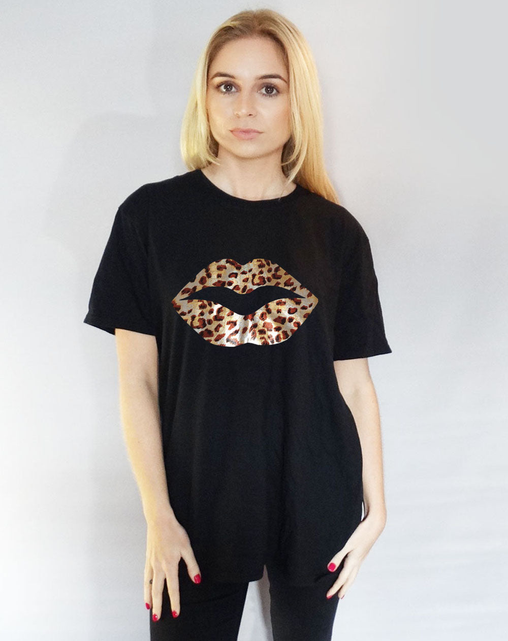 Black Tshirt with Silver Holographic Leopard Lips