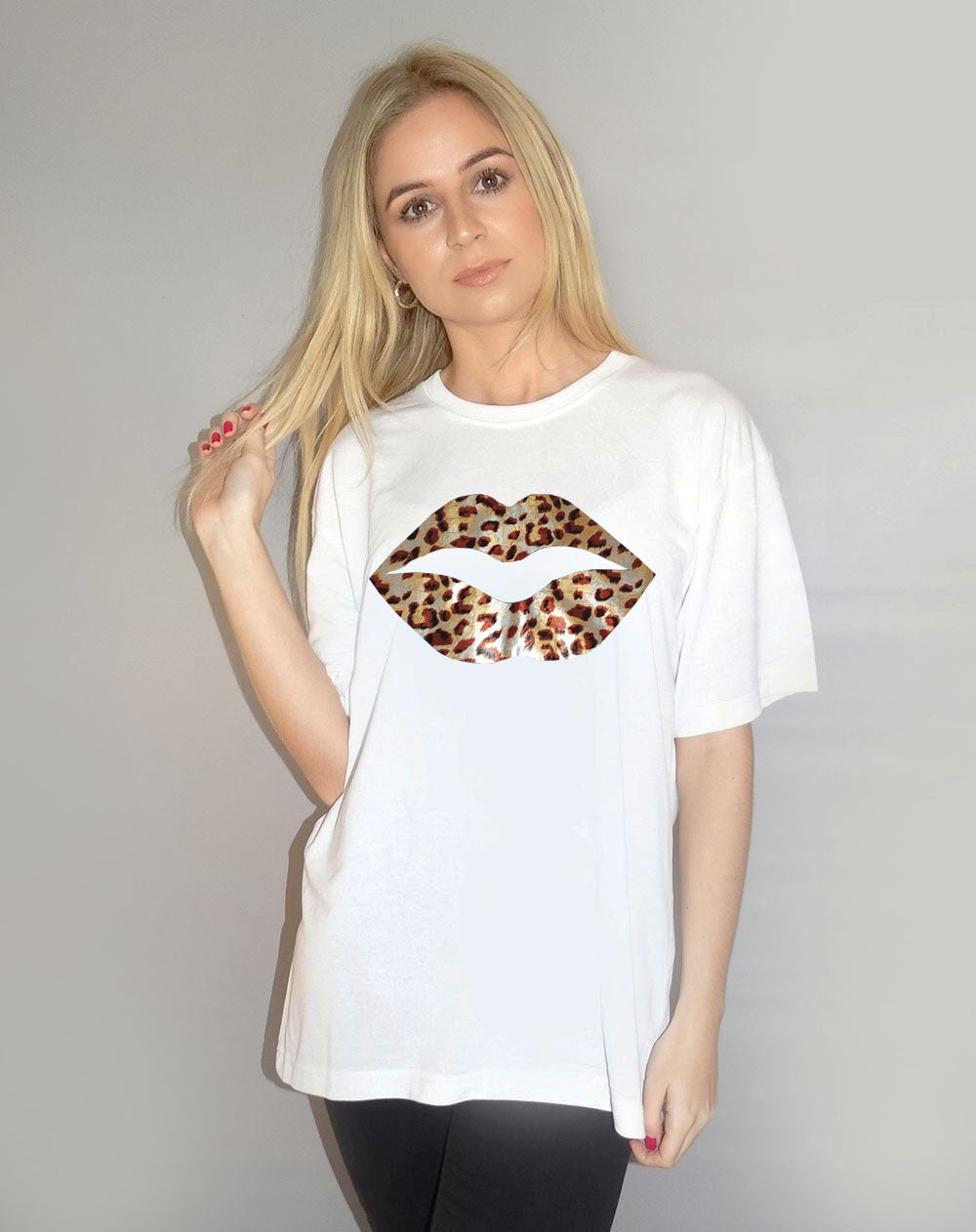 Gold Holographic Leopard Lip Tshirt in White
