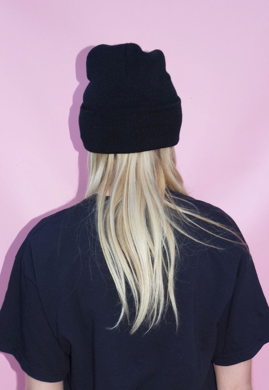 Black Drip Lip Beanie Hat