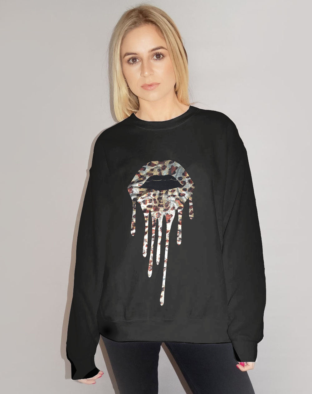 Jumper In Black With Silver Foil Leopard Print Drip Lip