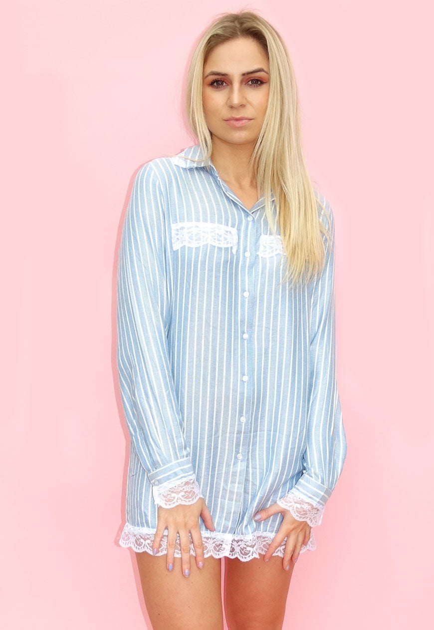 Blue Laced Pin Stripe Shirt