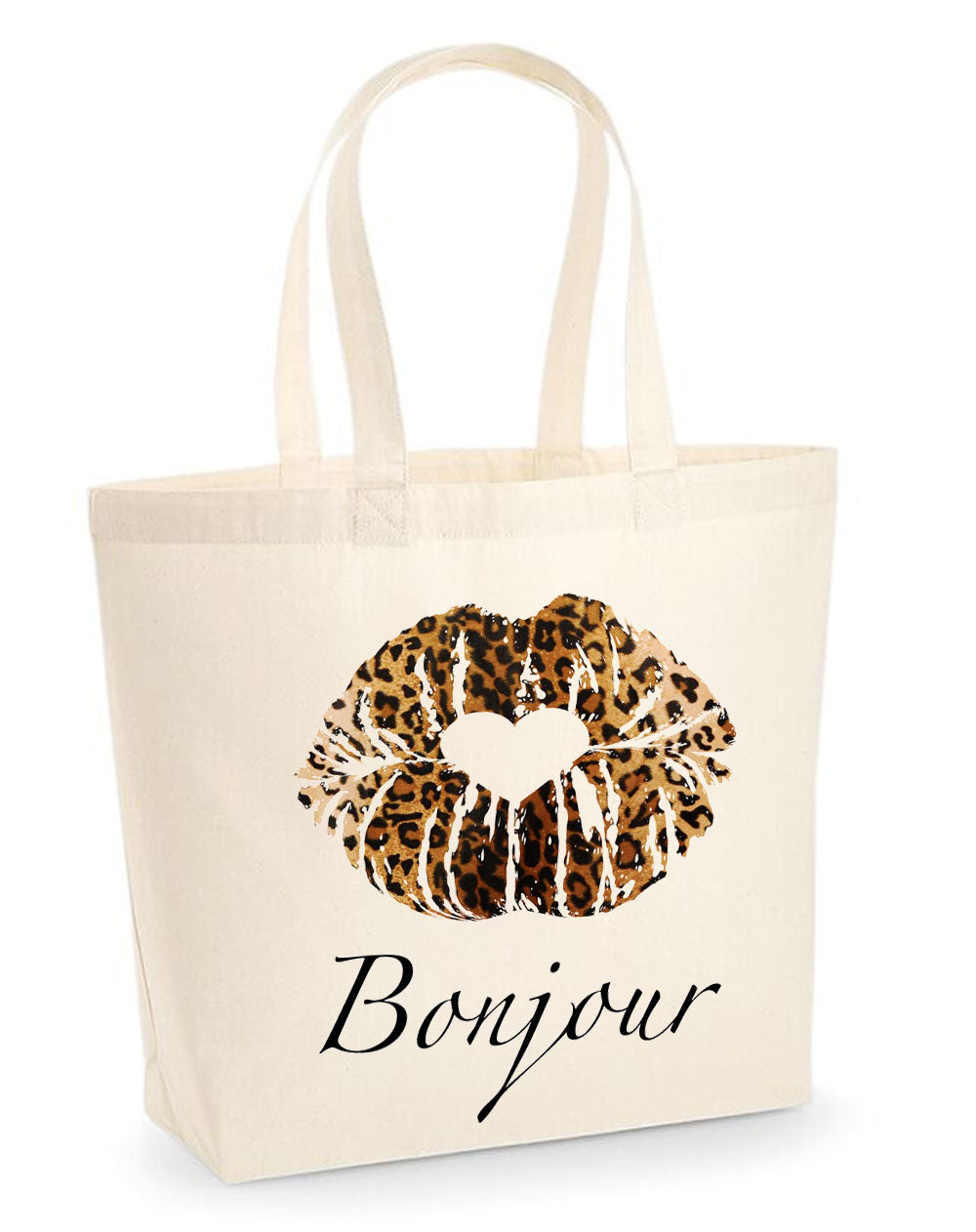 Bonjour leopard kiss tote bag in cream