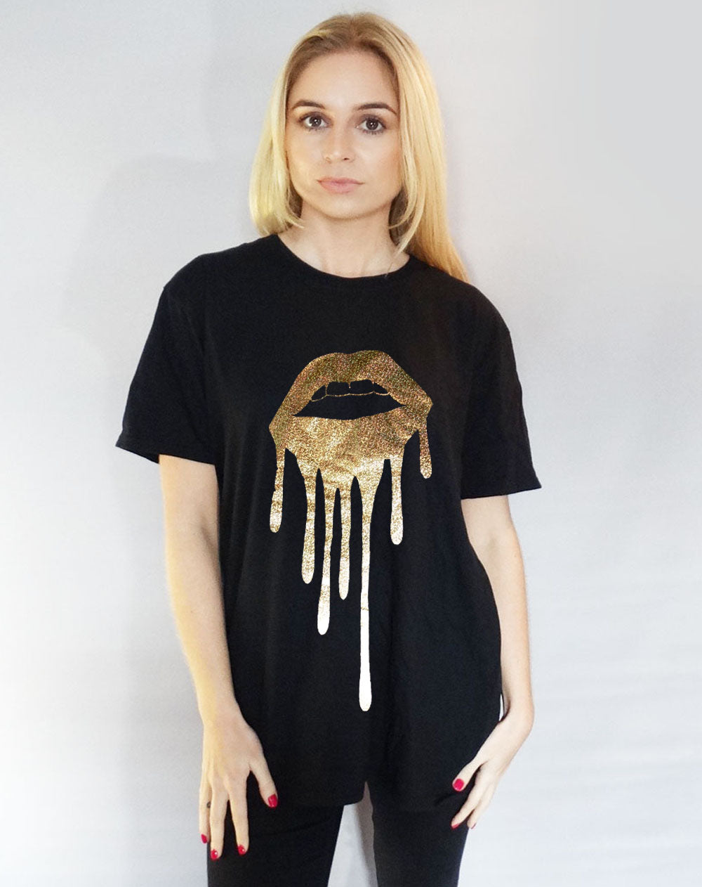 Holographic Gold LIP Drip  T-shirt In Black