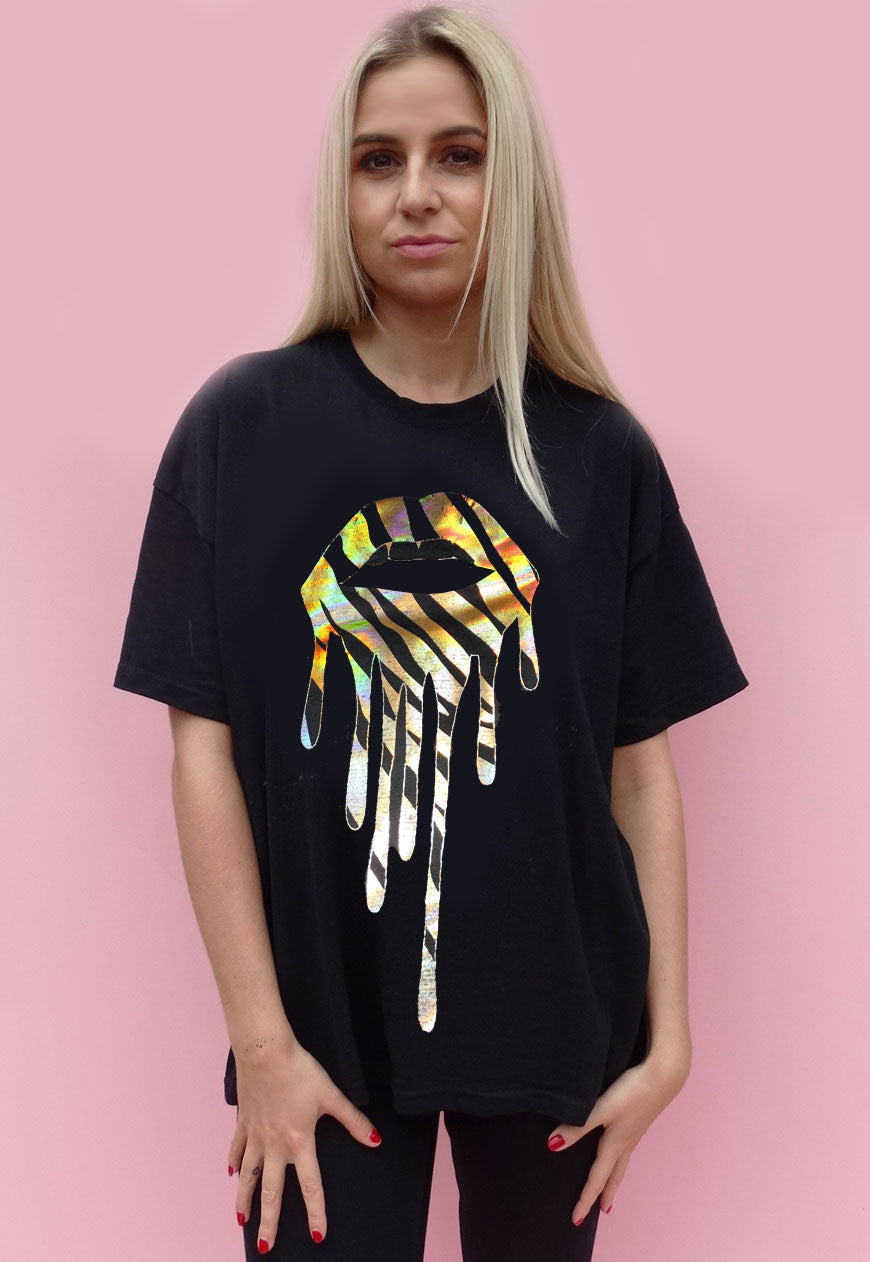 Tshirt In Black With Gold Zebra Drip Lip