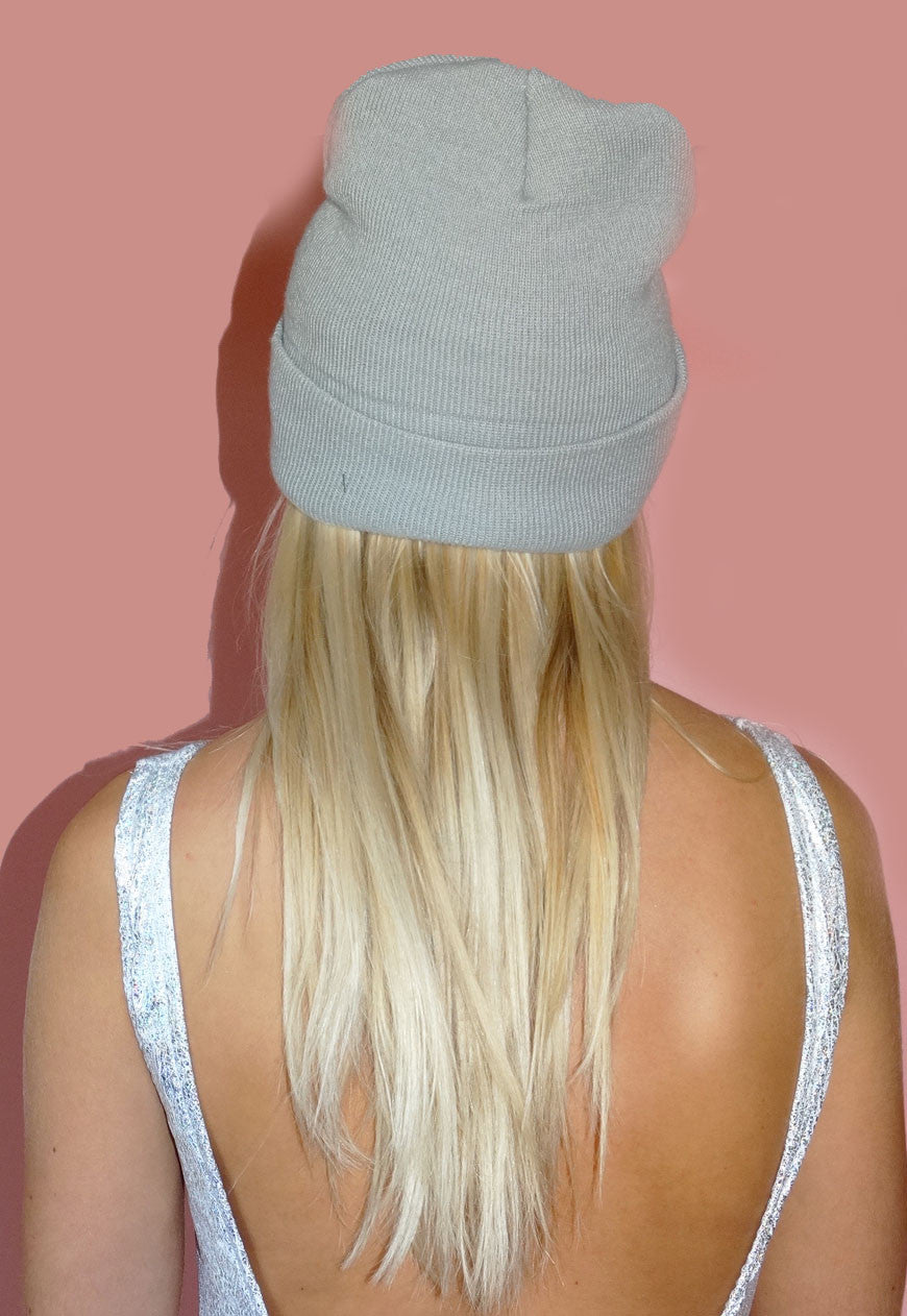 Grey Drip Lip Beanie Hat