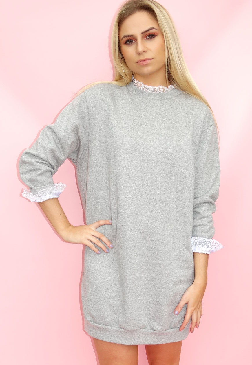 Grey Lace Trim Jumper Dress