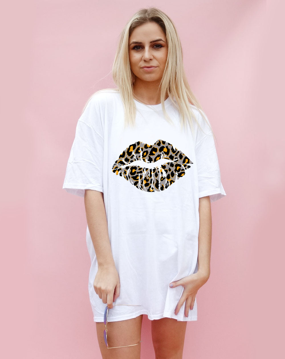 Grey and Orange Leopard Lip Motif Oversize Tshirt Dress in white