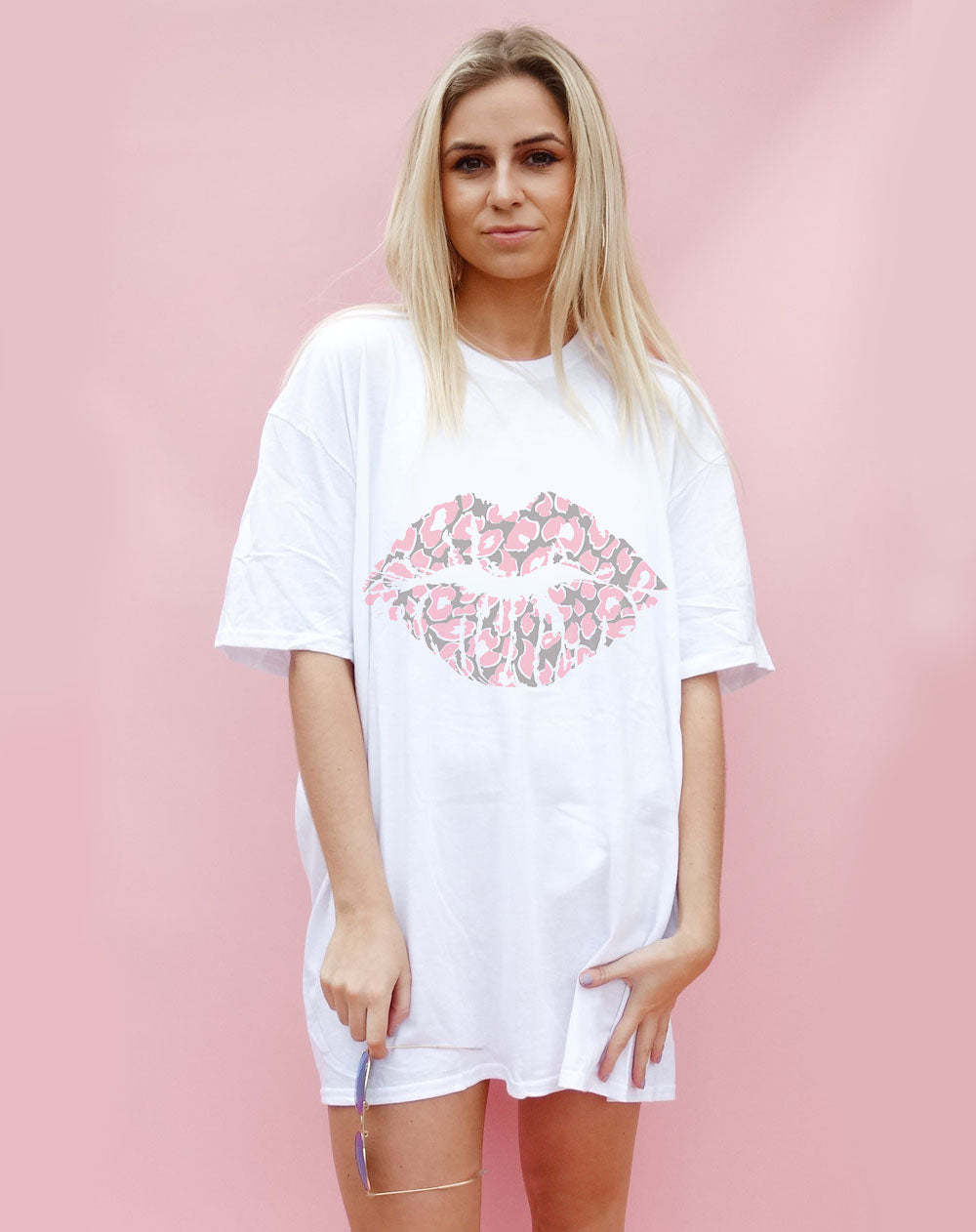 Pink and Grey Leopard Lip Motif Oversize Tshirt Dress in white