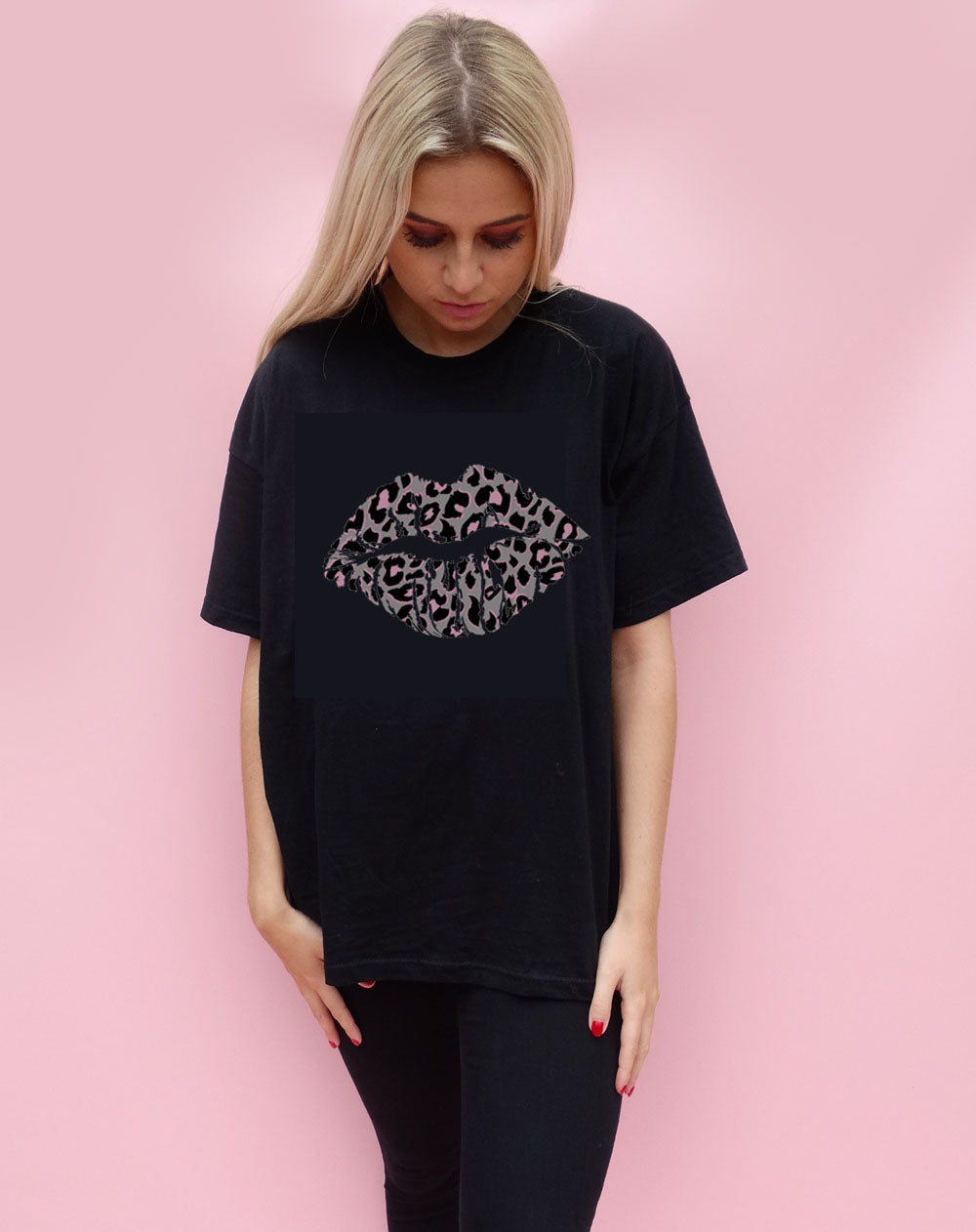 Pink and Grey Leopard Print Lip Motif T-shirt Top in Black
