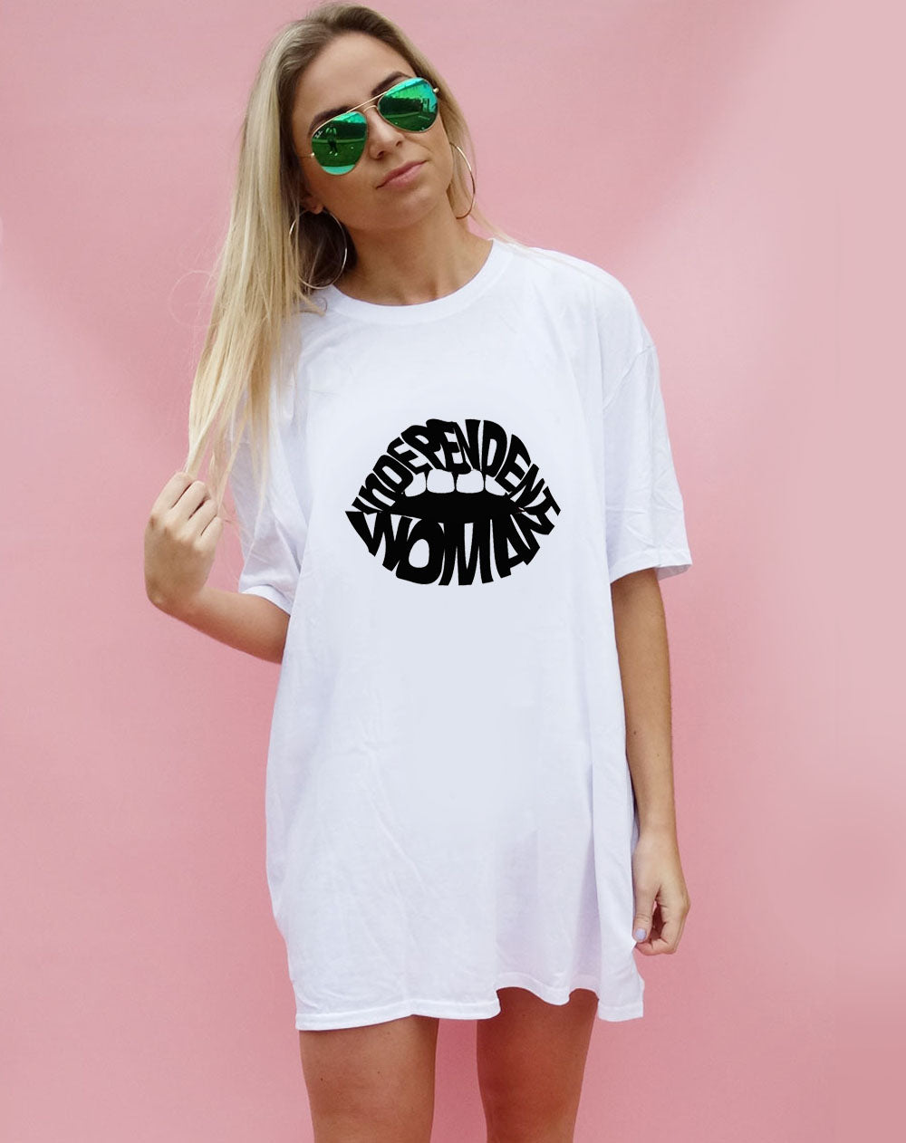Independent Black Lip Oversized T-shirt in White