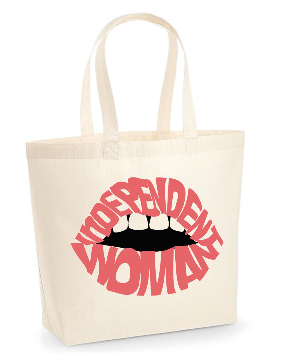 Pink Independent woman lip tote bag in cream