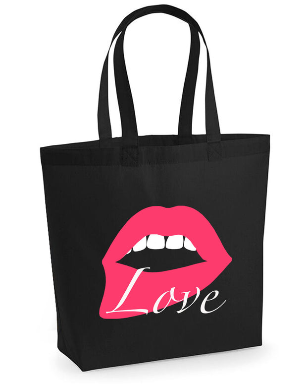 Pink Love Lip woven tote bag in black